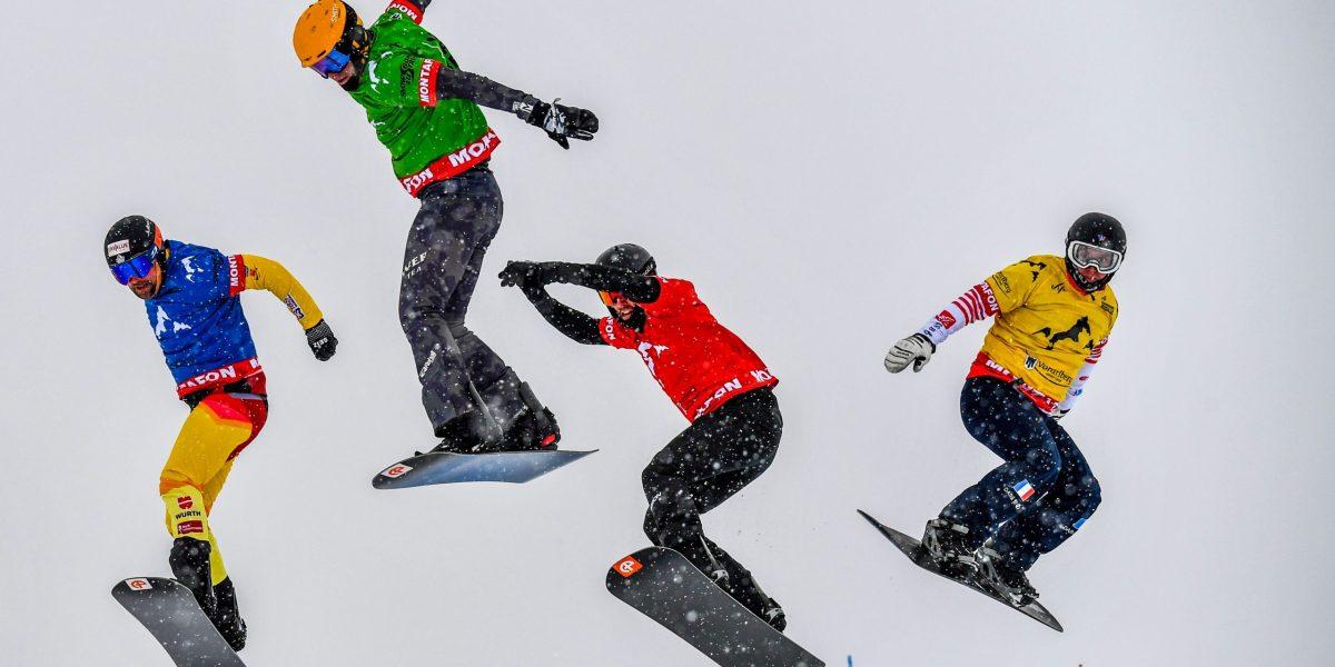 SCHRUNS,AUSTRIA,13.DEZ.19 - SNOWBOARDING - FIS World Cup, BXT, Snowboard Cross. Image shows Martin Noerl (GER), Jakob Dusek (AUT), Cameron Bolton (AUS) and Ken Vuagnoux (FRA). Photo: GEPA pictures/ Oliver Lerch