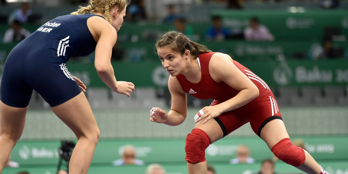 BAKU,AZERBAIJAN,15.JUN.15 - European Games Baku, Wrestling-69kg. Image shows Alina Focken (GER) and Martina Kuenz (AUT).Photo: GEPA pictures/ Martin Hoermandinger