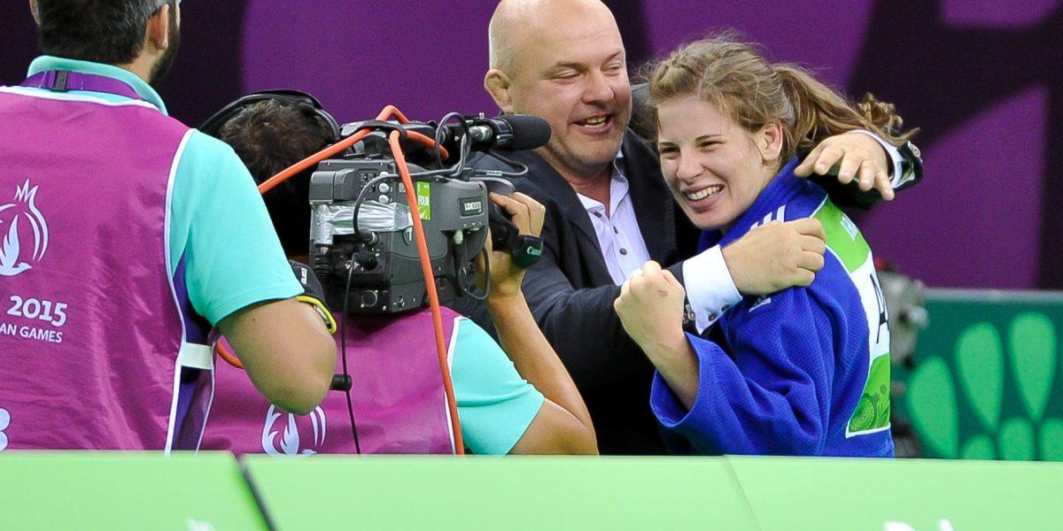 BAKU,AZERBAIJAN,24.JUN.15 - European Games Baku,Judo women-70kg. Image shows the rejoicing of coach Marko Spittka and Bernadette Graf (AUT).Photo: GEPA pictures/ Martin Hoermandinger