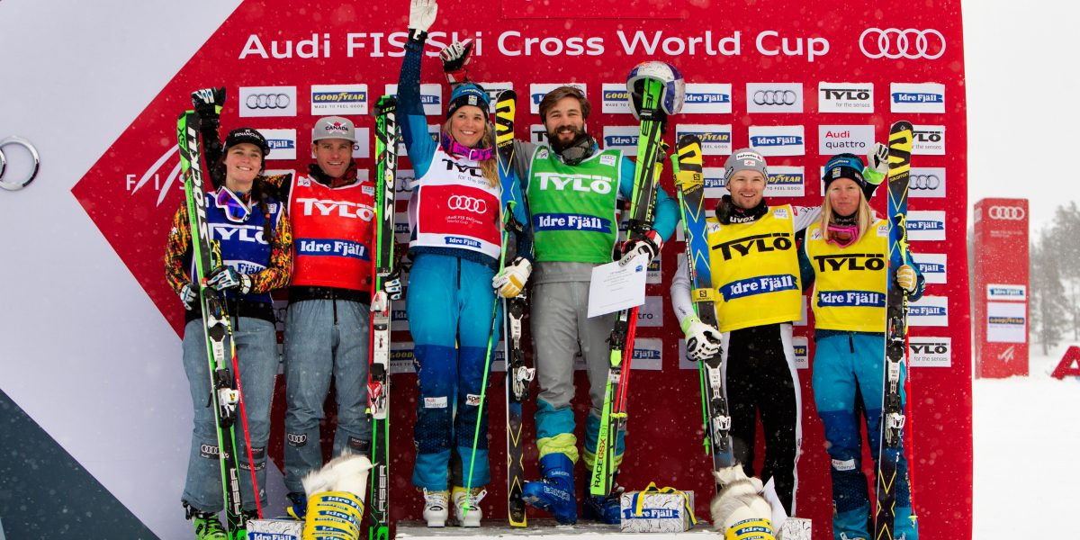 IDRE,SWEDEN,13.FEB.16 - FREESTYLE SKIING - FIS World Cup, Ski Cross, award ceremony. Image shows Marielle Thompson (CAN), Christopher Delbosco (CAN), Anna Holmlund (SWE), Filip Flisar (SLO), Christoph Wahrstoetter (AUT) and Sandra Naeslund (SWE). Keywords: Stoeckli. Photo: GEPA pictures/ Matthias Hauer