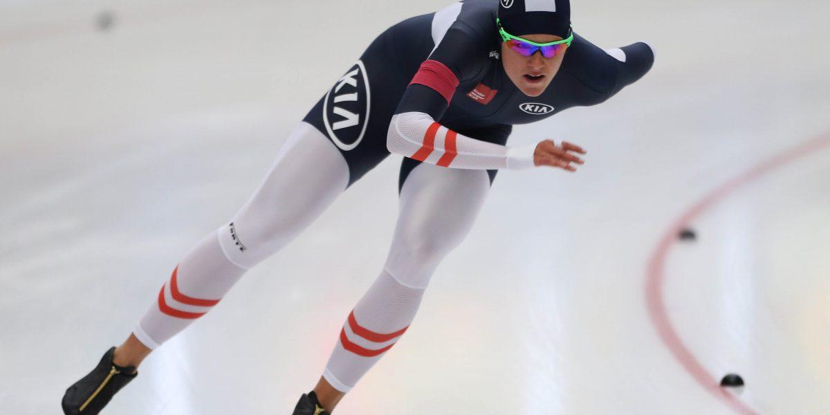 INZELL,GERMANY,17.OCT.15 - SPEED SKATING - Austrian Championships Sprint, 500m, ladies. Image shows Vanessa Bittner (AUT). Photo: GEPA pictures/ Mathias Mandl