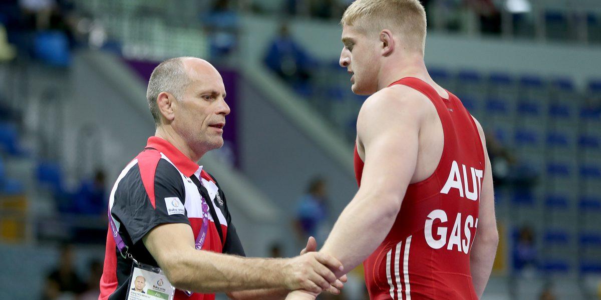 BAKU,AZERBAIJAN,13.JUN.15 - European Games Baku, Wrestling. Image shows coach Joerg Helmdach and Daniel Gastl (AUT). Photo: GEPA pictures/ Markus Oberlaender