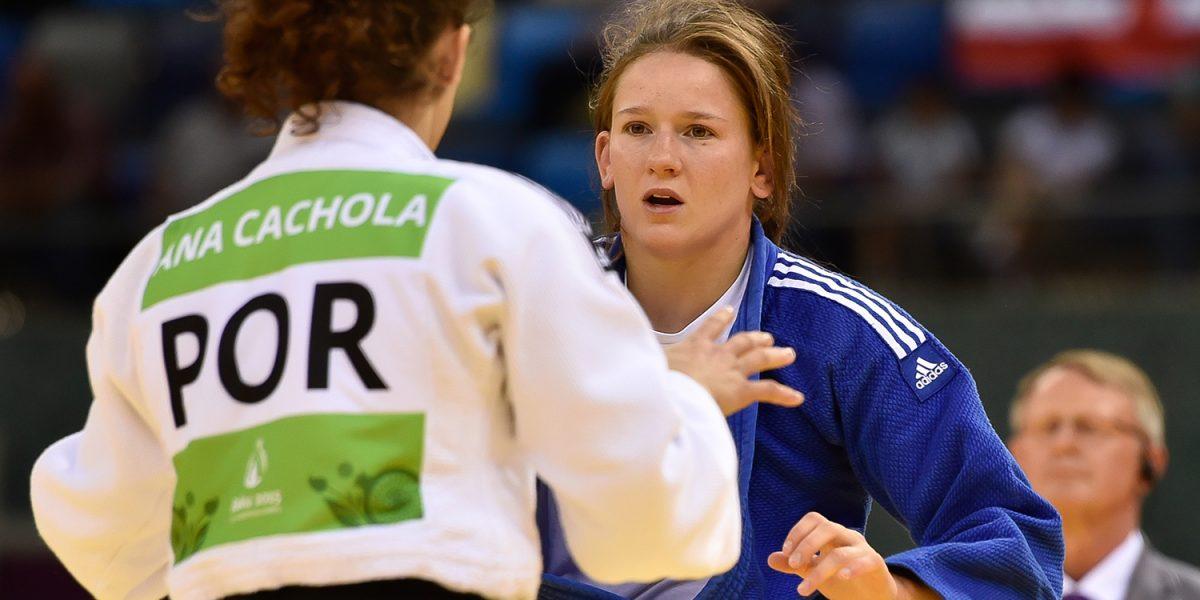 BAKU,AZERBAIJAN,24.JUN.15 - European Games Baku,Judo women-63kg. Image shows Kathrin Unterwurzacher (AUT) and Ana Cachola (POR). Photo: GEPA pictures/ Martin Hoermandinger