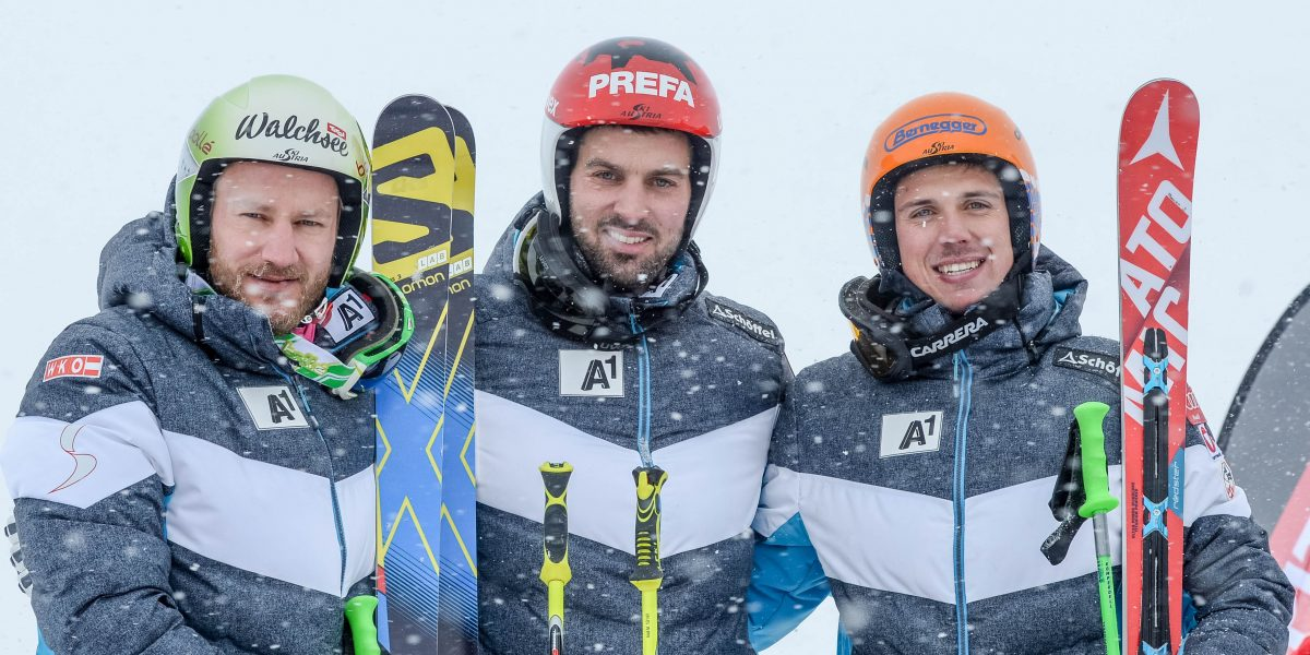 SANKT LEONHARD,AUSTRIA,21.NOV.15 - FREESTYLE SKIING - Austrian championships, Ski Cross, men. Image shows Thomas Zangerl, Andreas Matt, and Daniel Traxler (AUT). Photo: GEPA pictures/ Oliver Lerch