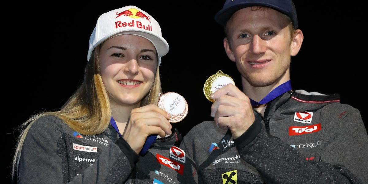 INNSBRUCK,AUSTRIA,16.SEP.18 - CLIMBING - IFSC World Championships, combined. Image shows Jessica Pilz (AUT) and Jakob Schubert (AUT). keywords: medal. Photo: GEPA pictures/ Andreas Pranter