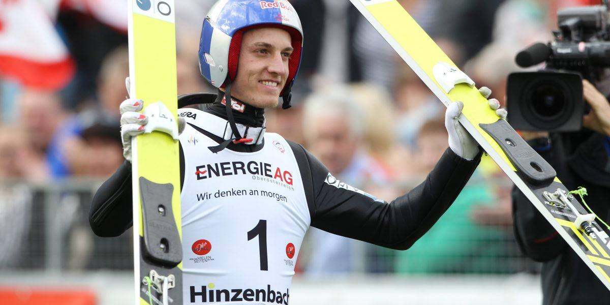 HINZENBACH,AUSTRIA,27.SEP.15 - NORDIC SKIING, SKI JUMPING - FIS Summer Grand Prix, plastic surface. Image shows the rejoicing of Gregor Schlierenzauer (AUT). Photo: GEPA pictures/ Mathias Mandl