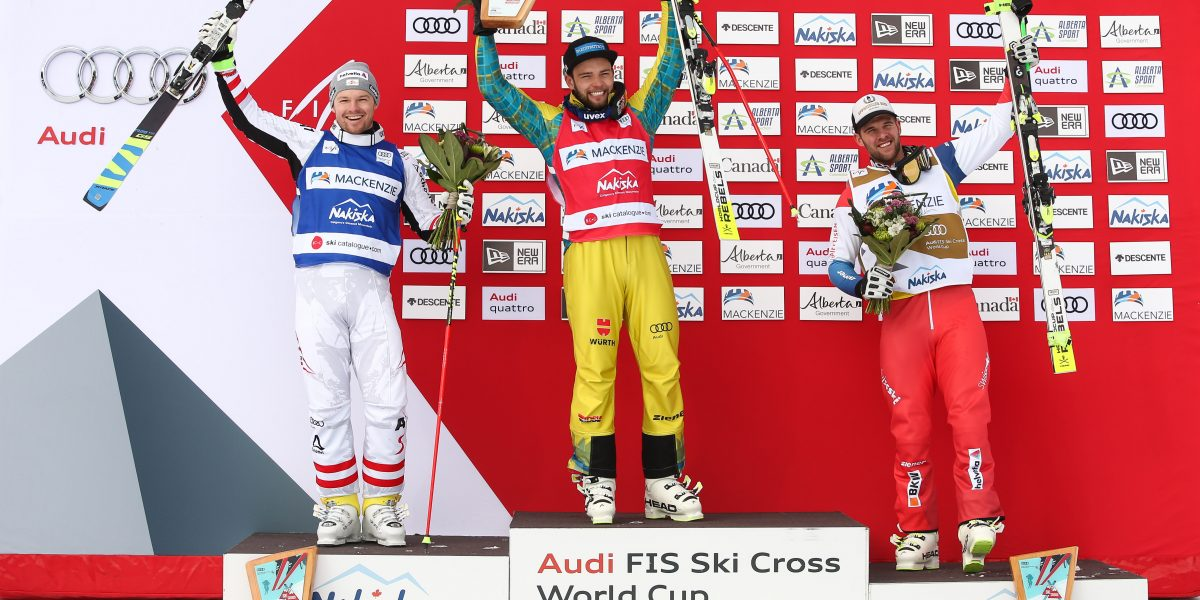 NAKISKA,CANADA,20.JAN.18 - FREE SKI, FREESTYLE SKIING - FIS World Cup Nakiska, Ski Cross. Image shows the rejoicing of Christoph Wahrstoetter (AUT), Paul Eckert (GER) and Marc Bischofberger (SUI). Photo: GEPA pictures/ Daniel Goetzhaber