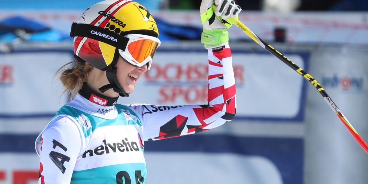 SANKT MORITZ,SWITZERLAND,17.MAR.16 - ALPINE SKIING - FIS World Cup Final, Super G, ladies. Image shows Nina Ortlieb (AUT). Picture shot with a Canon EOS-1D X Mark II sample. Photo: GEPA pictures/ Christian Walgram