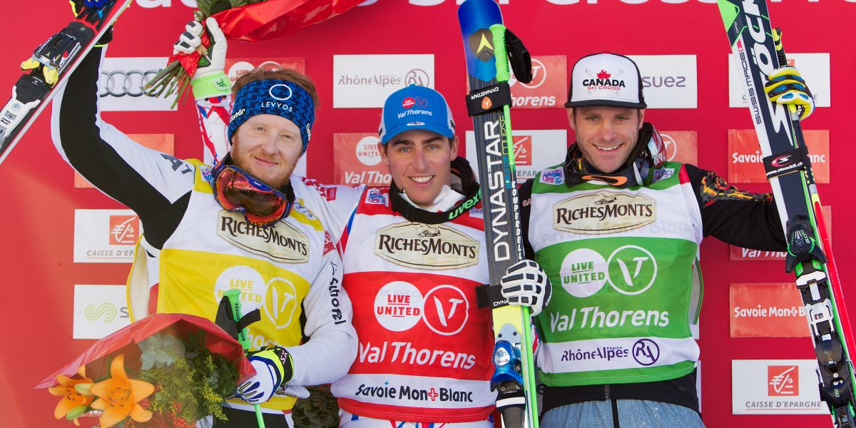 VAL THORENS,FRANCE,12.DEC.15 - FREESTYLE SKIING - FIS World Cup, Ski Cross, award ceremony. Image shows Thomas Harasser (AUT), Jean Frederic Chapuis (FRA) and Christopher Delbosco (CAN). Keywords: Stoeckli. Photo: GEPA pictures/ Matthias Hauer