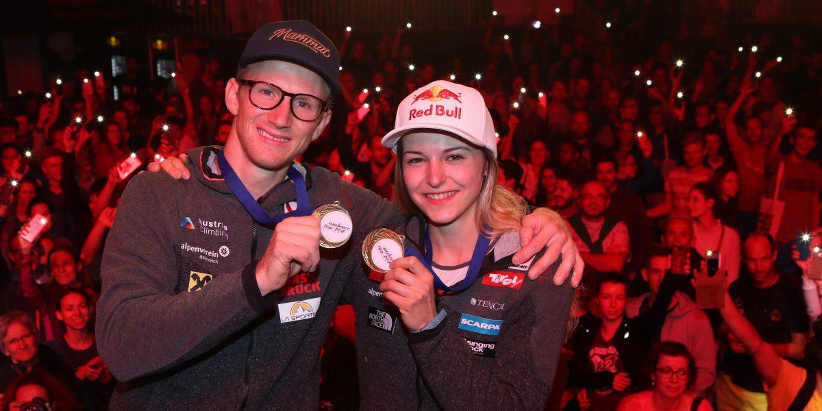 INNSBRUCK,AUSTRIA,09.SEP.18 - CLIMBING - IFSC World Championships. Image shows Jakob Schubert and Jessica Pilz (AUT). keywords: medal. Photo: GEPA pictures/ Andreas Pranter
