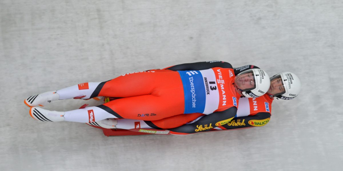 IGLS,AUSTRIA,28.NOV.15 - LUGE - FIL World Cup, artificial track, doubles, men. Image shows Peter Penz and Georg Fischler (AUT). Photo: GEPA pictures/ Hans Osterauer