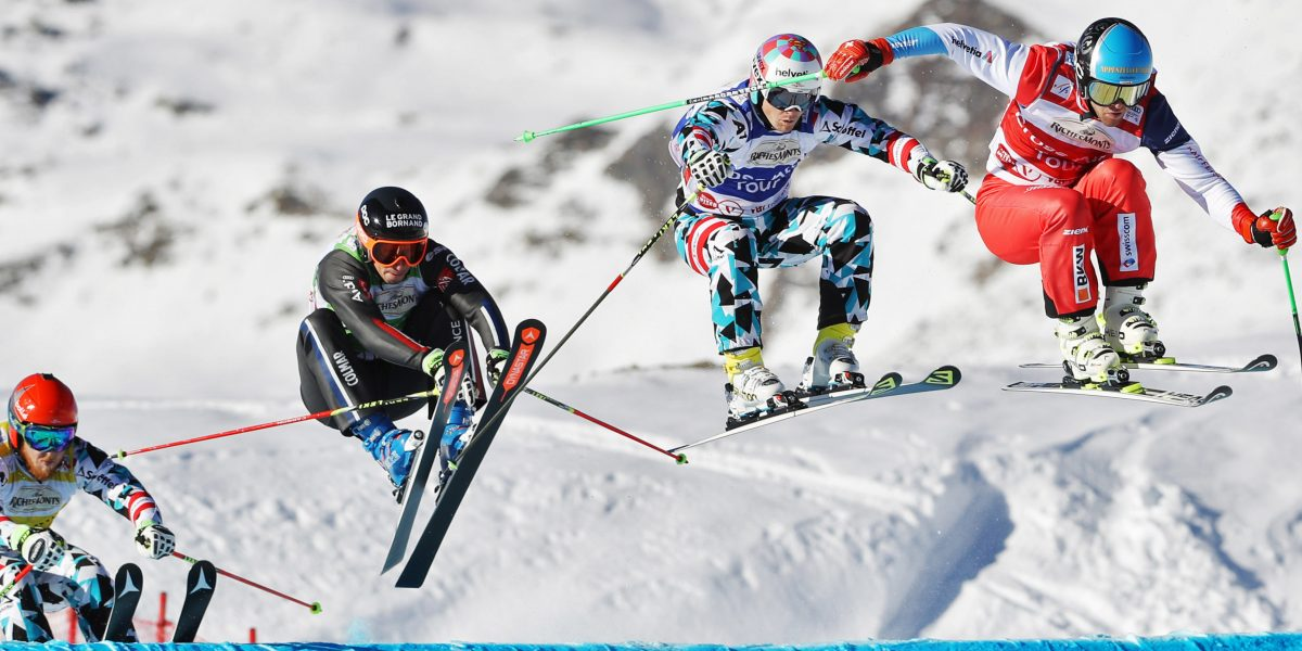 VAL THORENS,FRANCE,10.DEC.16 - FREESTYLE SKIING - FIS World Cup, Ski Cross, men. Image shows Thomas Harasser (AUT), Jonathan Midol (FRA), Christoph Wahrstoetter (AUT) and Marc Bischofberger (SUI). Photo: GEPA pictures/ Matthias Hauer