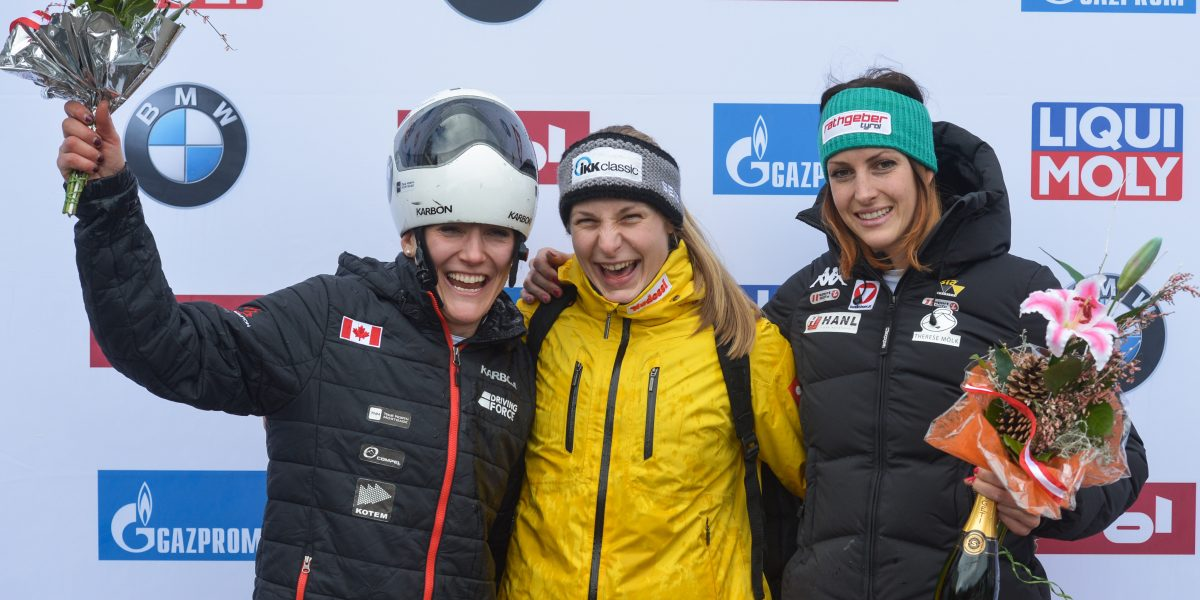 INNSBRUCK,AUSTRIA,03.FEB.17 - SKELETON - IBSF World Cup, ladies, flower ceremony. Image shows Mirela Rahneva (CAN), Tina Hermann (GER) and Janine Flock (AUT). Photo: GEPA pictures/ Hans Osterauer