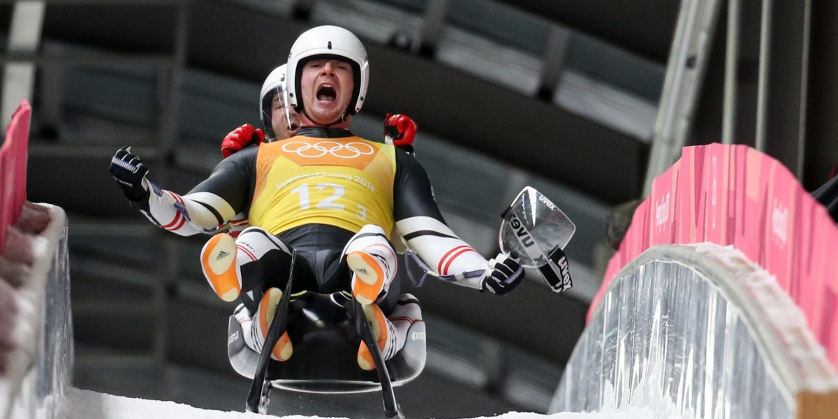 PYEONGCHANG,SOUTH KOREA,15.FEB.18 - OLYMPICS,LUGE - Olympic Winter Games PyeongChang 2018, team relay. Image shows the rejoicing of Peter Penz and Georg Fischler (AUT). Photo: GEPA pictures/ Matic Klansek