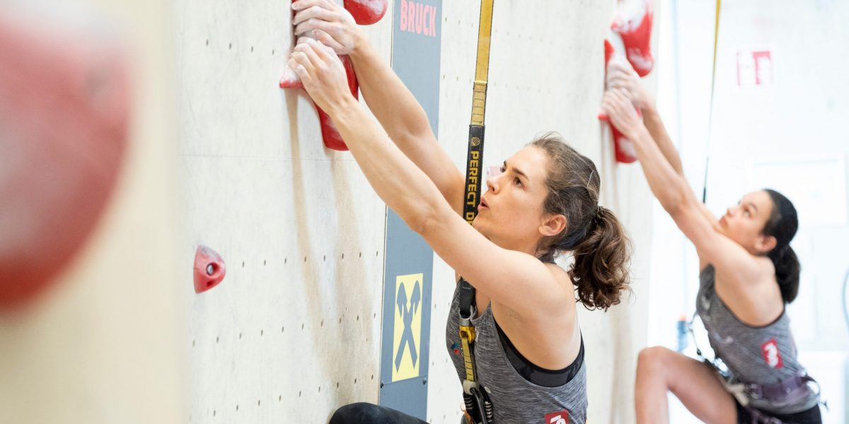 INNSBRUCK,AUSTRIA,10.JUL.20 - CLIMBING - Austrian Climbing Summer Series, speed, ladies. Image shows Alexandra Elmer (AUT). Photo: GEPA Pictures/ KVOE/ Heiko Wilhelm